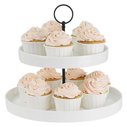 Sweese Etagere, Cupcake Ständer aus Porzellan, 2-stöckig, Pralinenteller Gebäckteller Obstteller Servierständer, weiß