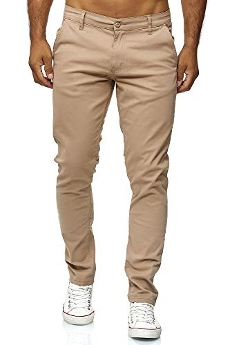 Elara Pantalón Chino para Hombre Regular Slim Fit Elástico Chunkyrayan MEL009-Beige-40/32