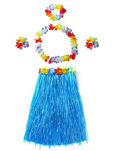 an Hula Dancer Grasrock Blau 60 cm 5 Stück / Set für Erwachsene ()