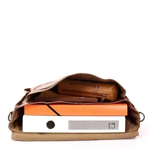 LECONI Collegetasche Echtleder Retro Damen Herren Messenger Bag Unisex DIN A4 Aktentasche 40x28x12cm LE3008 braun