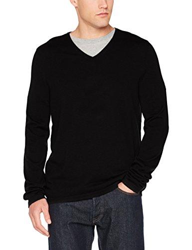 Herren V-neck Wolle Pullover (Marc O'Polo Herren Pullover 729506060158, Schwarz (Black 990), X-Large)