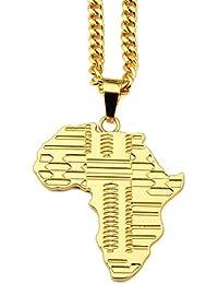 """Fengteng Hip hop Mapa de África Colgante Collar 30 """"cadena para los hombres, Chapado en oro"""