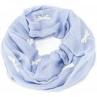 ManuMar Loop-Schal für Damen | Hals-Tuch mit Libelle-Motiv als perfektes Sommer-Accessoire | Schlauch-Schal - Das ideale Geschenk für Frauen