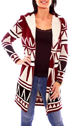 Easy Young Fashion Damen Kapuzen Strickjacke Cardigan Lang Ethno-Muster Bunt One Size Bordeaux