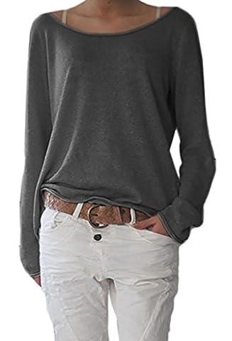 MIKOS*Femme Tricots Pulls Lâce Cardigans Sweater Tops Hauts cou couleur unie à manches longues 632 (L/XL, Graphitique)