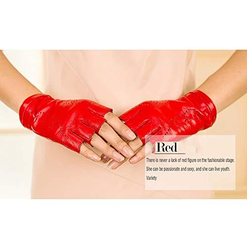 Tagke Weibliche Halbe Finger Dew Outdoor Lammfellhandschuhe Niedliche koreanische Lederlokomotive, die Handschuhe Fahren Lederhandschuhe Fahren reitet Handschuh fährt (Color : Red, Größe : L)