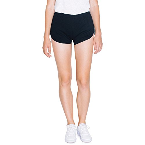 American Apparel Womens/Ladies Interlock 100% Cotton Running Shorts Kelly Green / White