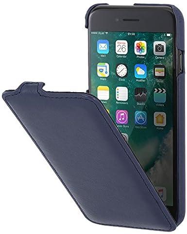 StilGut UltraSlim, housse iPhone 8 Plus & iPhone 7 Plus en cuir. Etui de protection à ouverture verticale et fermeture clipsée en cuir véritable, Bleu foncé nappa