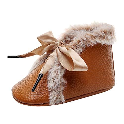 Yuiopmo Baby schönen Herbst Winter warme weiche Sohle Schneeschuhe weiche Krippe Schuhkleinkind Stiefel Bowknot Schnüren Krippe Schuhe Krabbelschuhe 0-24 Monate -