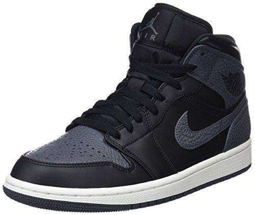 Nike Herren Air Jordan 1 Mid Hohe Sneaker, Schwarz (Black/Dark Grey/Summit White 041), 45.5 EU (Schuhe Für Männer-nike Air Jordan)
