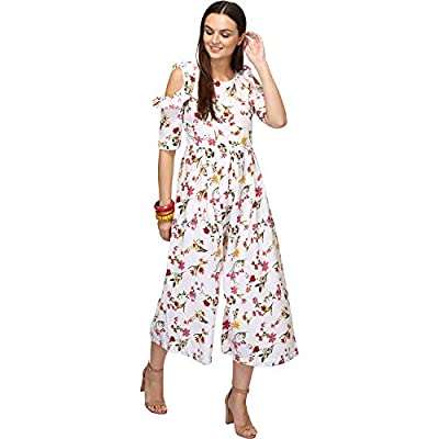 BAABUL White Floral Print Casual Crepe Jumpsuit for Women