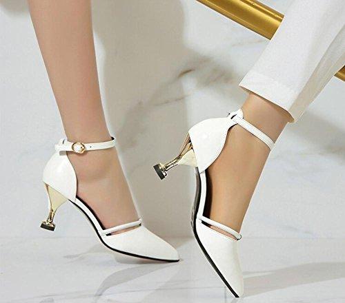 PBXP D 'orsay Spitz-Zeh AnkleStraps Kätzchen Low Heel Leder Frauen Casual Work Party Elegante römische Schuhe Weiß Europa Größe 34-39 White