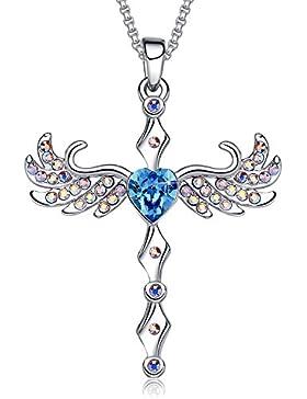 """MEGA CREATIVE JEWELRY Damen Kette """"Schutz Kreuz"""" Halskette Kreuz Flügel Anhänger mit Kristallen von Swarovski..."""