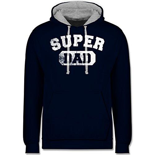 Vatertag - Super Dad - Vintage-&Collegestil - Kontrast Hoodie Dunkelblau/Grau meliert