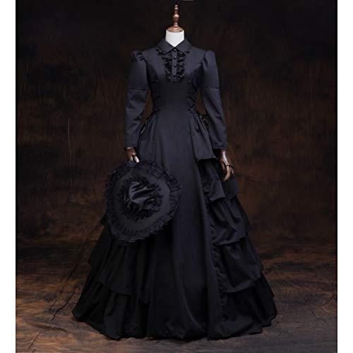 Schwarze Spitze Mit Rüschen Korsett (QAQBDBCKL Schwarz Rüschen Kleid Mit Hut Gothic Lange Medieval Kleid Renaissance Spitze Kleid Prinzessin Kostüm Victorian/Marie Antoinette)