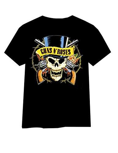 Buffini GUNS N\' ROSES Herren Schwarz T-shirt, Logo Scull&Guns, Größe M