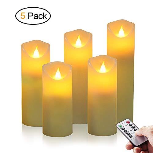 LED Kerzen, omitium Flammenlose Kerzen aus 5 Echtwachs mit realistischen tanzenden LED Flammen und 10-Tasten Fernbedienung mit 2/4/6/8-Stunden Timer (Dekorieren Halloween-billig Für)