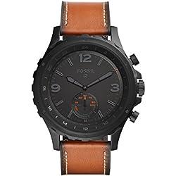 FOSSIL Q Nate / Montre connectée hybride pour homme - Smartwatch sport en cuir marron - Compatibilité iOS & Android - Boîte et pile incluses