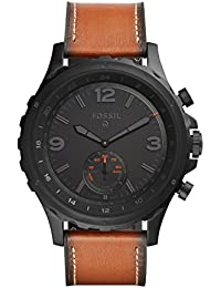 FOSSIL Hybrid Smartwatch Q Nate Dark Brown Leather – Android and iOS Compatible – Bluetooth Smartwatch Technology - Activity and Sleep Tracker, Smartphone Notifications