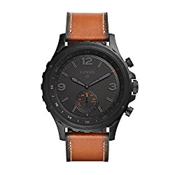 Fossil Hybrid Smartwatch Q Nate Dark Brown Leather   Android & Ios Compatible   Bluetooth Smartwatch Technology - Activity & Sleep Tracker, Smartphone Notifications