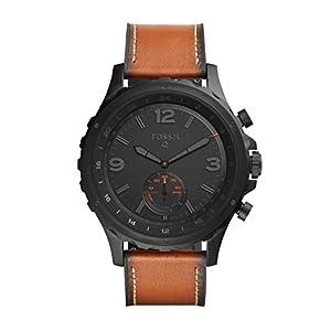 Fossil Herren Hybrid Smartwatch Q Nate – Leder – Dunkelbraun / Analoge Herrenuhr im klassischen Vintage Stil mit Smartfunktionen / Für Android & iOS