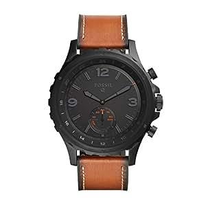 fossil q nate montre connect e hybride pour homme smartwatch sport en cuir marron. Black Bedroom Furniture Sets. Home Design Ideas