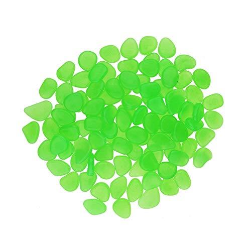 Candora - Piedras Decorativas Luminosas Artificiales (200 Unidades, Brillan en la Oscuridad), diseño de guijarros, Verde