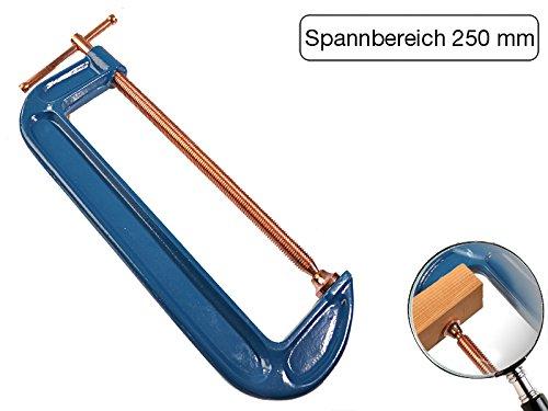 Profi C-Schraubzwinge 250mm robust Stahl-Gewinde verkupfert gegen Schweißperlenbesatz