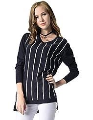 CeRui Mujeres Jersey de Punto a Patrón Rayas Camisa Blusa Suéter con V-Cuello