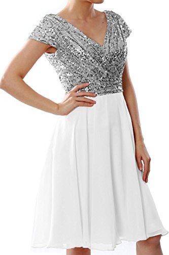 MACloth Women Cap Sleeve Short Bridesmaid Dress Sequin Wedding Party Formal Gown Silber Elfenbein