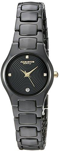 Akribos XXIV-Orologio da donna al quarzo con Display analogico e braccialetto AK581BKG in ceramica, colore: nero