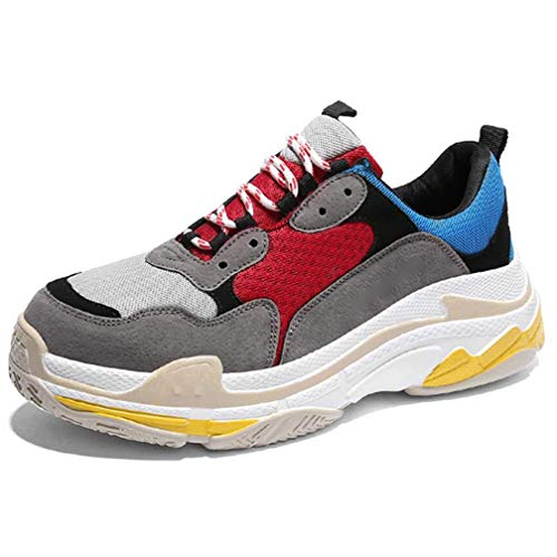 Willsego Aumento delle Scarpe da Tennis da Uomo Outdoor Running Casual Fashion Versatile Wear (Colore : GrayAndRed, Dimensione : 39)