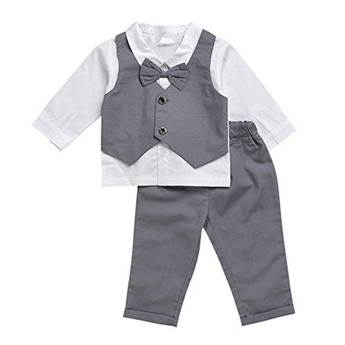 Doubleer Newborn Boy Bowtie formale Kleidung Anzug Langarm Shirt Tops lange Hosen Set für 0-48 Monate