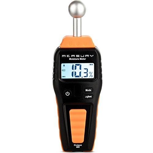 Measury Feuchtigkeitsmessgerät für Holz und Baustoff, Zerstörungsfreier Feuchtemesser, Feuchtemessgerät mit Displaybeleuchtung