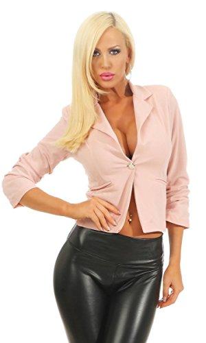 Fashion4Young 11159 Klassischer Taillierter Damen Blazer Business Jacke Elegant Kurzjacke Stretch Jäckchen Reversekragen (altrosa, 36)
