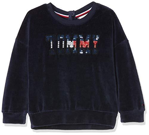 Velours-jumper (Tommy Hilfiger Mädchen Sequin Velour Sweatshirt, Blau (Black Iris 002), 152 (Herstellergröße: 12))