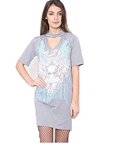 Friendz Trendz-Ladies Live Fast Die Skull Ride Choker T-Shirt Kleid. UK 8-14 Grey