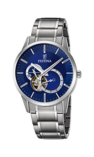 Festina Men's Automatic Watch with Blue Dial Analogue Display and Silver Stainless Steel Bracelet F6845/3