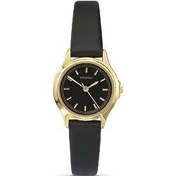 Sekonda Classic Analogue Black Dial Gold Plated Case Black Strap Ladies Watch 4141