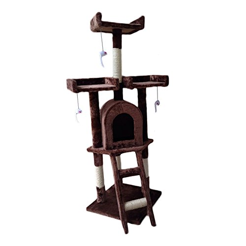Cat Kitten Scratching Post Tree 42x42x115 cm Brown Scratcher Bed Activity Centre Climbing Toy Playhouse with Dangling Mice Toys UK Delivery (Brown)