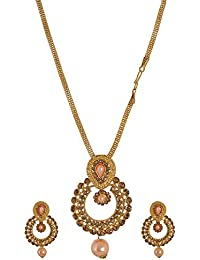 Subharpit Ethnic Gold Plated Pearl & Diamond Necklace Set For Women & Girls (Necklace & Earring)