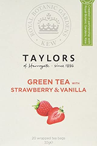 Taylors of Harrogate Royal Botanic Gardens, Kew, Green Tea with Strawberry & Vanilla Tea Bag 20's (Pack of 3, 60 bags in total)