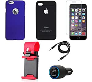 NIROSHA Tempered Glass Screen Guard Cover Case Car Charger Mobile Holder for Apple iPhone 6 - Combo