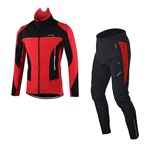Lixada Mens Cycling Clothing Sets Water Resistant Breathable Bike Winter Long Sleeve Sportswear +Padded Pants Trousers