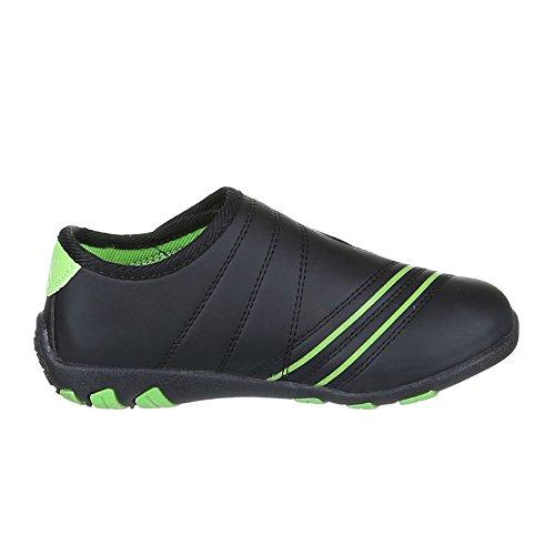 Ital-Design, Sneaker bambini Nero (Nero/Verde)