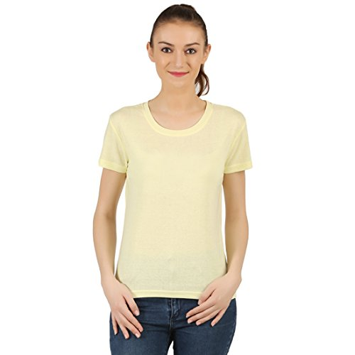 T-Shirt.ind.in Casual RIB Womens Lite Yellow Melange Round Neck T-Shirt  available at amazon for Rs.170