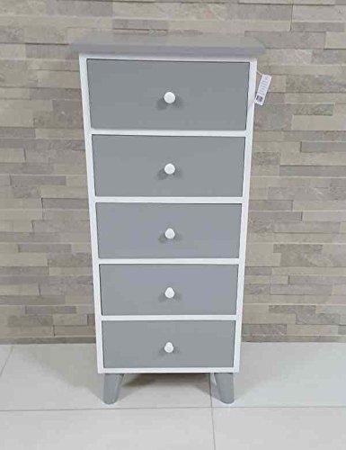 Paganohome cassettiera 5 cassetti grigio bianco laccato lucido mobile bagno, legno bianco camera bagno dimensioni 40 x 29 h 93 cm.