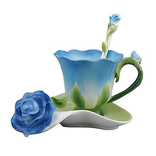 Daxinyang migliore forma 3d rosa del fiore dello smalto in ceramica tazza di caffè tè e piattino cucchiaio di alta qualità in tazza di porcellana creativo regalo di san valentino design,blu