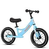 TCBIKE Niño Bici del Balance del Deporte, Ajustable Inflable Bici de los Cabritos Empuje No Hay Marco de Acero al Carbono Pedales Paseo en Juguetes para Chico Chica 2-6 años Viejo-Azul 12
