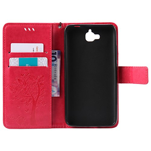 Leather Case Cover Custodia per iPhone 7G / 7 ,Ecoway Caso / copertura / telefono / involucro gatto farfalla Albero in rilievo Disegno retro della del modello PU con a Bookstyle tasche carte di credit Rosa e rosso